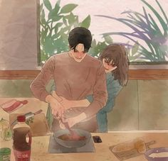 Is that mackerel and broccoli? Cute Couple Drawings, Cute Couple Art, Anime Couples Drawings, Love Drawings, Love Cartoon Couple, Cute Love Cartoons, Anime Love Couple, Cute Anime Couples, Romantic Anime Couples