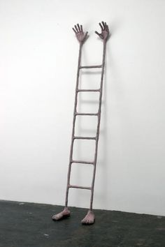 Liz CRAFT - Ladder Guy (Facing Out), 2005  Sculpture, Bronze  22.5 in. l x 12 in. w x 100 in. h (57.15 x 30.48 x 254 cm)  Ed. of 4 + 1 AP