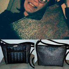 By Lolote sur Instagram: Mon sac à moi😍😍 Le @manbo Un super patron @patrons_sacotin tissus simili noir tressé et un métallique de chez @tissusplus