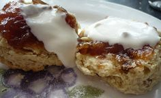 Breakfast Ideas. Day 1, Fruit Scones (shown here with rhubarb, apple and vanilla jam with creme fraiche)