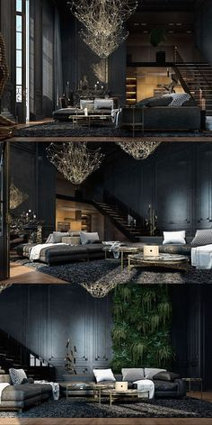 Schwarze Wohnzimmer Ideen und Inspiration Black living room ideas and inspiration Interior Design Minimalist, Modern House Design, Interior Modern, American Interior, Scandinavian Interior, Modern Luxury, Luxury Loft, Gothic Interior, Luxury Condo