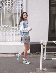 Shop this look on Lookastic:  http://lookastic.com/women/looks/grey-casual-dress-and-light-blue-bomber-jacket-and-grey-socks-and-mint-low-top-sneakers/3012  — Grey Casual Dress  — Light Blue Bomber Jacket  — Grey Socks  — Mint Low Top Sneakers