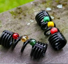 boho dread jewelry Black with Gold Glitter Chunky handcrafted polymer clay dread bead dreadlocks Dread Beads : Bronze 20mm  2cm hole