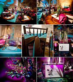 Teal, purple, & dark wood color pallette