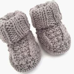 1ec5b7bde050 knitted baby booties grey baby bootees knitted by WoollyBudgie Knit Baby  Shoes