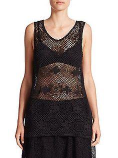 Chloé Crochet Lace Tank - Black - Size S