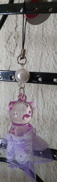 bijou de téléphone portable nounours violet tutu dentelle-perle blanche noël
