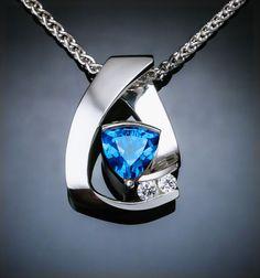 Swiss blue topaz necklace, blue topaz pendant, white sapphire necklace,  Argentium silver, December birthstone, contemporary jewelry -  3452