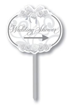 """Creative Converting Directional Yard Sign, Wedding Shower by Creative Converting. $11.94. A perfect way to direct your guests to the party for the bride and groom or to the reception or rehearsal dinner. Wedding shower sign measures 15"""" wide x 14"""" tall. See Creative Converting's coordinating line of party goods and dinnerware. Sign and post height is approximately 20"""" tall. Two-sided paper yard sign helps guests locate your event. From the Manufacturer                With ove..."""