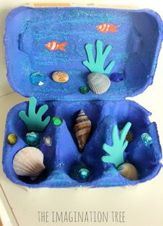 Let kids learn about sea creatures with this egg carton ocean craft. What a fun way to display beach treasures and to make an imaginative small world scene to play with.