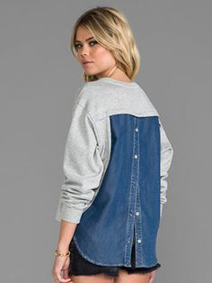 Crew Sale - Discounted Coats, Shoes, Bags - J.Crew Sale – Discounted Coats, Shoes, Bags Funktional Blue Hour Back Button Sweatshirt at Revolve Clothing Diy Clothes Refashion, Diy Clothing, Sewing Clothes, Remake Clothes, Sweatshirt Refashion, Altered Couture, Refashioning, Revolve Clothing, Diy Fashion