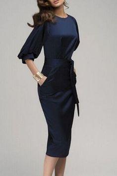 Navy Blue Belt Elbow Sleeve Fashion Midi Dress - Dresses