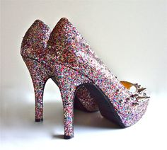 Mixed Spike PeepToe Heels Rainbow Glitter by VileBroccoliFur, $90.00