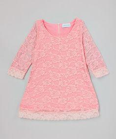 Bubble Gum Vintage Lace Shift Dress - Kids #zulily #zulilyfinds