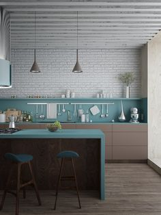 Kitchen Chairs: Teal And White Color Combination Ideas For Modern Kitchen Decoration With Minimalist Island And Chairs. Teal Kitchen Chairs for Shabby and Minimalist Decoration Teal Color For Kitchen Decoration, Modern Kitchen Chairs, Kitchen Dinning, New Kitchen, Kitchen Decor, Kitchen Ideas, Deco Design, Küchen Design, House Design, Design Ideas, Design Projects