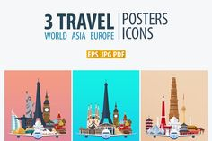 Travel Posters. World, Asia, Europe by LeoEdition on @creativemarket