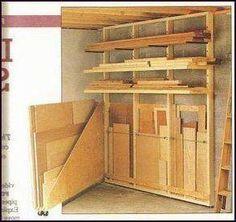 Alternative swing out plywood sheet storage. Woodworking Lumber Near Me Lumber Storage Rack, Plywood Storage, Lumber Rack, Garage Storage Racks, Garage Tools, Diy Garage, Garage Shop, Small Garage, Garage Signs