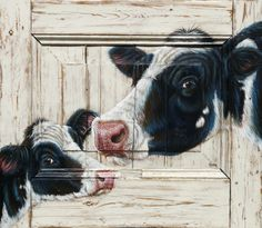 Artwork painted on an old door by Fonny van Raaijen Cow Pictures, Pictures To Paint, Painted Window Art, Cow Decor, Animal Paintings, Cow Paintings On Canvas, Farm Paintings, Farm Art, Cow Art
