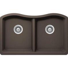 Buy Here: http://thd.co/1RydhLb SCHOCK ASH ASHN200U063 Undermount Composite 32.5 in. 0-Hole 50/50 Double Bowl Kitchen Sink in Mocha #kitchensink #kitchensinks #kitchen #sinks #schock #granitesink
