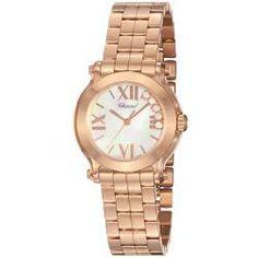 Chopard Women's 'Happy Sport Round' Rose Gold Bracelet Quartz Watch