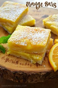 These Gooey Orange Bars are such a fun twist on lemon bars! The bright, juicy orange flavor is so sweet and refreshing in this EASY recipe! Variations: lime or margarita (lime with tequila) Orange Bar Recipes, Citrus Recipes, Sweet Recipes, Satsuma Recipes, Cookie Desserts, Easy Desserts, Delicious Desserts, Dessert Recipes, Awesome Desserts