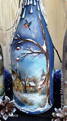 Hello dear master and mistress! Happy New Year and Merry Christmas! A long time ago I did not have and I really missed you! Here are some free time has stood out and decorate the bottle as a gift. Recycled Glass Bottles, Glass Bottle Crafts, Wine Bottle Art, Painted Wine Bottles, Lighted Wine Bottles, Painted Wine Glasses, Bottle Lights, Wine Glass Candle Holder, Christmas Wine Bottles
