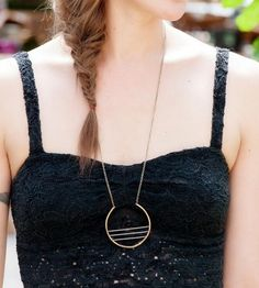 Grey & Brass Circle Necklace by Crow Jane Jewelry on Scoutmob Shoppe