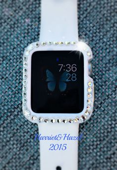 38mm Protective Apple Watch Case with hand placed Swarovski crystal detail by ShopBlingedOutKicks on Etsy