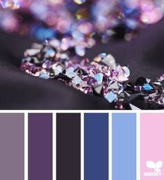 Plum purple, dark blue, and a light pink color palette that feels like royalty.