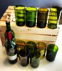 Wine Bottle Drinking Glasses  Upcycled from Used by Rehabulous, $39.00