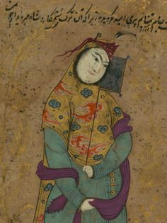 """""""Lady with a Fan""""  ink and pigments on paper mounted on pasteboard - painting attributed to Riza-'i 'Abbasi (died 1044 AH/AD 1634)"""