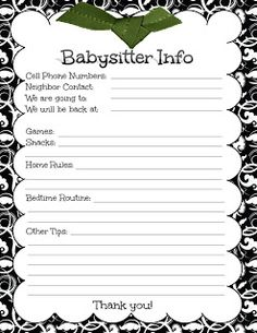 baby/sitters/checklist - Google Search | Things for kids to do ...