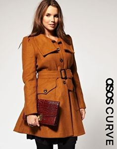 ASOS CURVE 70s Fit and Flare Coat - StyleSays