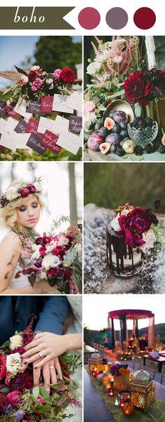 boho wedding themes ideas in color burgundy