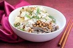 Light lunch is the right lunch when its this tasty Roasty Soba Bowl With Miso Tahini.
