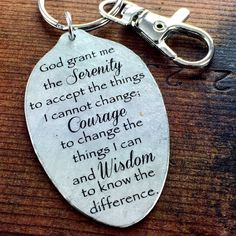 Serenity Prayer Strength and Encouragement Keychain, Inspirational Gift, God grant me the serenity to accept the things I cannot change... by kyleemaedesigns on Etsy