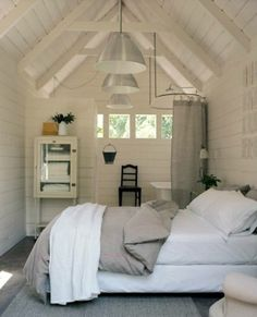 Cabin bedroom/bath in the attic space