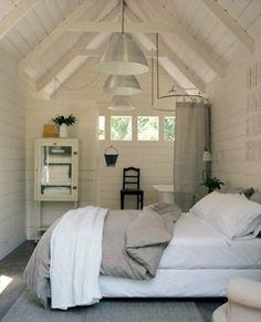 Cabin bedroom/bath in the attic space