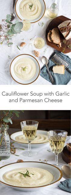 Cauliflower soup with garlic and parmesan cheese, by Eva in the Kitchen