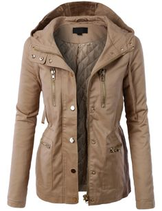 LE3NO Womens Fully Quilted Lined Anorak Hoodie Jacket with Pockets