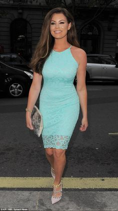 Lovely in lace: Jessica Wright was on hand to support Michelle Keegan at the launch of her...
