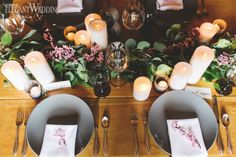Rustic Table Setting With Greenery and Cherry Blossoms www.elegantwedding.ca