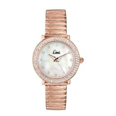 Since 1912 Limit watches, a British company, have been supplying the U.K with classic time pieces. Limit watches are designed to offer quality and value, this has ensured its success for over 100 years. Today all Limit watches use a Japanese high precision quartz movement to achieve total accuracy and carry a 2 year guarantee. This watch features a round rose gold plated stone set case with a white mother of pearl dial that has clear stones to mark all hours. Located on a rose gold plated…