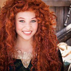 Princess Merida at Disneyland.  Ren Faire dress plus bad ass red wig = Halloween awesomeness.