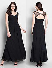 Lanting Ankle-length Chiffon Bridesmaid Dress - Black Trumpet/Mermaid Sweetheart