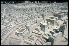 Scale model of Jerusalem in the Second Temple Period (1st cent. CE), in its original Holyland Hotel location: view from south-east across palaces, Pool of Siloam (Shiloah) and Lower City