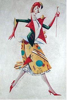 "Sergei Chekhonin, 1878–1936. Costume design for a dancer. Gouache on paper, circa 1925. For Ballet Russe Nemtchinova ""Islamey""   http://www.russianartsalon.com/CHEKHONINE.htm"