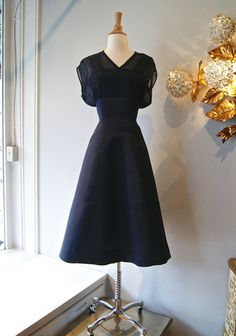 50s Party Dress // Vintage 1950s Navy Silk Fille by xtabayvintage, $248.00