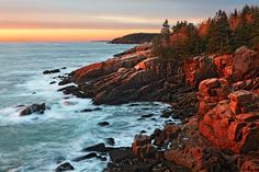 Sunrise Along the Park Loop Road  Acadia National Park