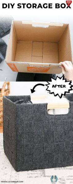 DIY Felt Box How to transform you old cardboard boxes into super cute felt storage bins.<br> STRUGGLING WITH STORAGE? Make DIY recycled storage from old cardboard boxes!